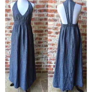 cAbi 995 Linen Chambray Blue Maxi Dress Small S